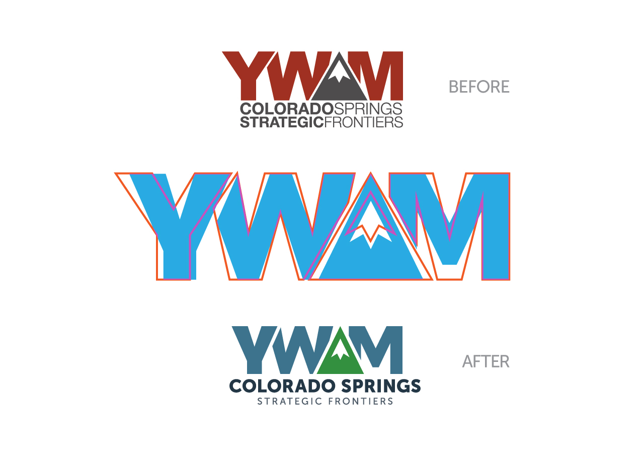 Kettle Fire Creative YWAM Colorado Springs Strategic Frontiers Logo Refresh Before and After rebrand Rebrand + Identity DesignMissions Organization ywamsf logo beforeafter