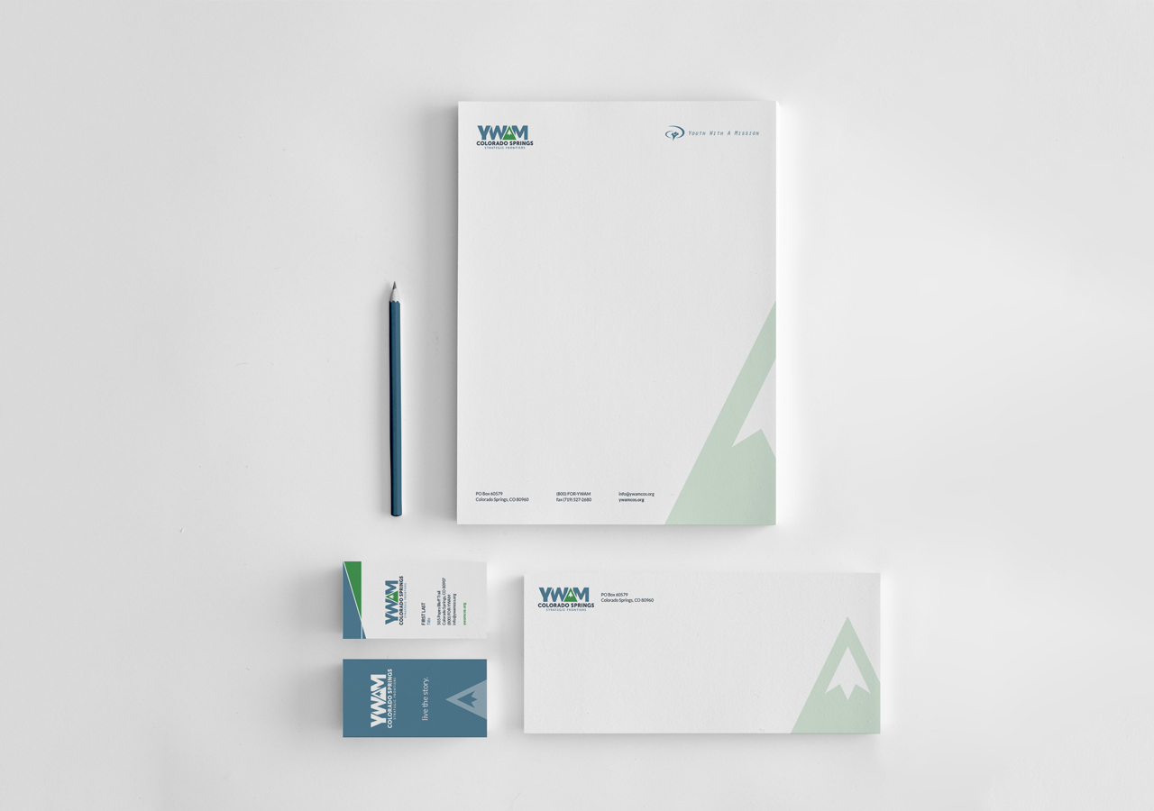 Youth With A Mission Colorado Springs Strategic Frontiers Business Card Letterhead Envelope Stationery Design Kettle Fire Creative identity design Identity DesignYWAM SF ywamsf stationery