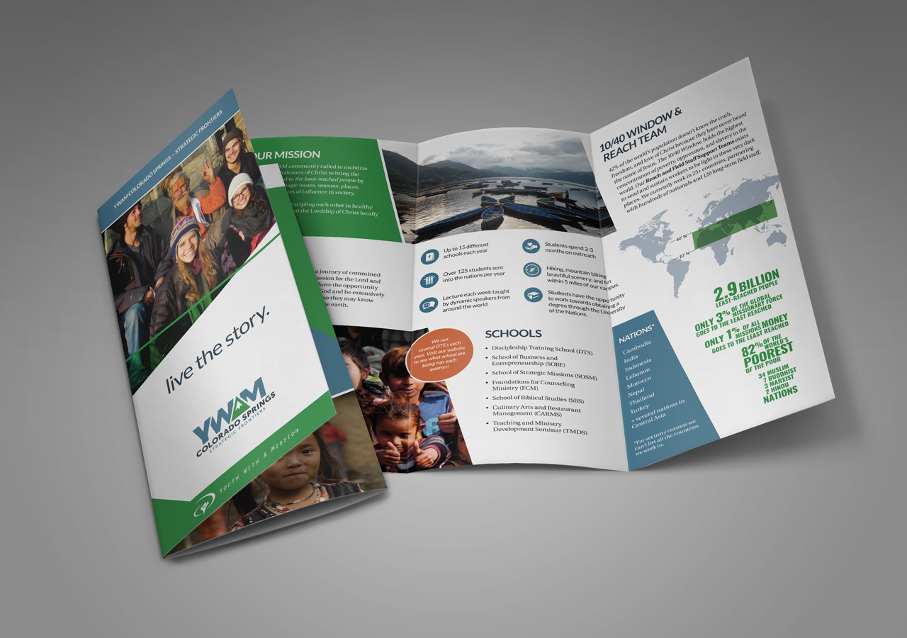 Kettle Fire Creative Youth with a mission strategic frontier rebrand collateral brochure design rebrand Rebrand + Identity DesignMissions Organization ywamsf collateral brochure 1