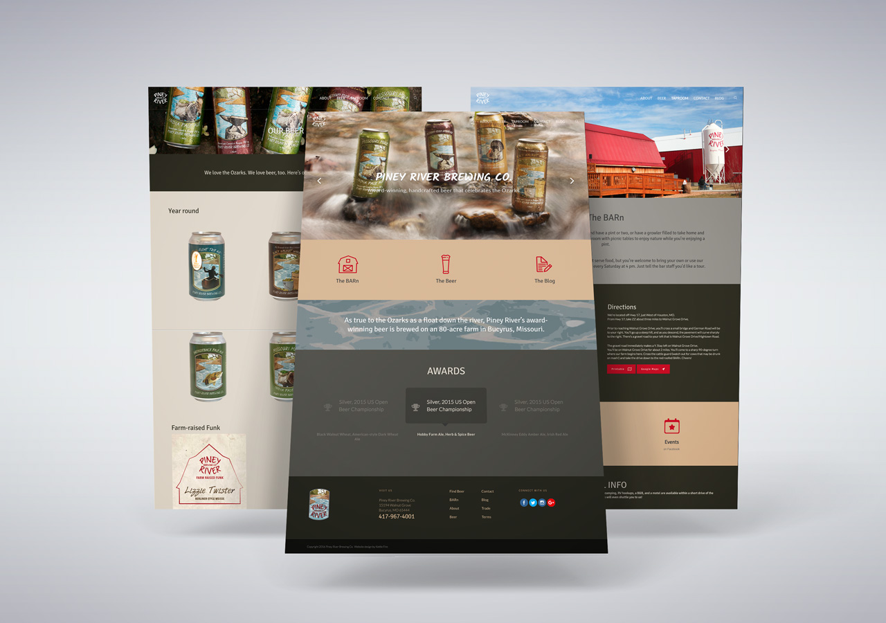 Website design brewery Kettle Fire Creative Piney River Brewing Co website design Website DesignPiney River Brewing Co. prbc website page mockup