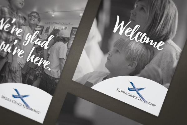 Sierra Grace Fellowship Church Welcome Materials branding Kettle Fire Creative – Branding Colorado Springs sgf fi