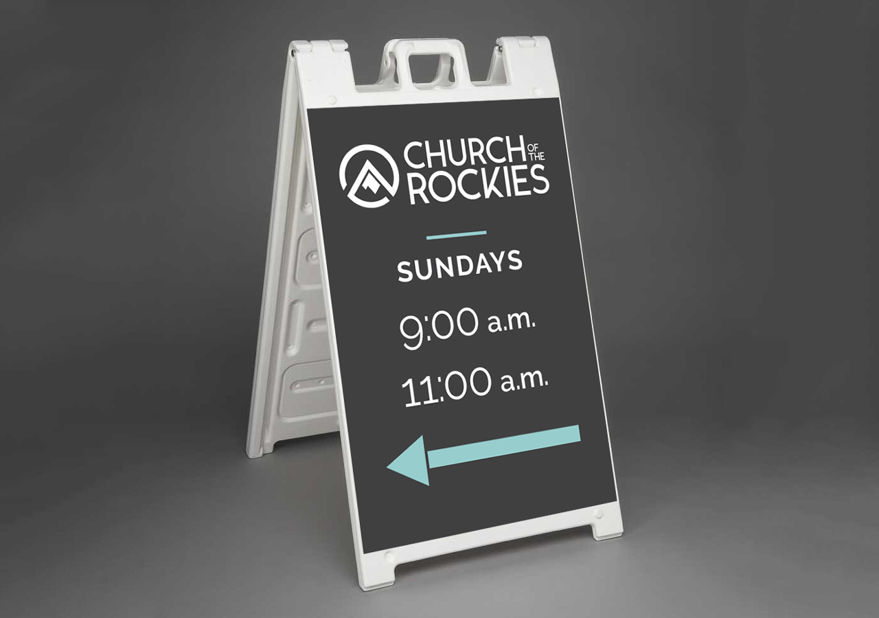 church brand collateral signage design Kettle Fire Creative brand collateral Brand CollateralChurch of the Rockies cotr aframe mockup