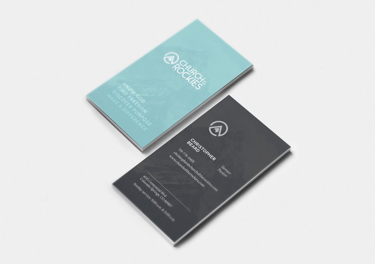 church brand collateral business card design Kettle Fire Creative brand collateral Brand CollateralChurch of the Rockies cotr business card mockup