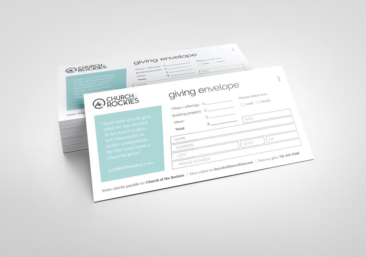 church brand collateral giving envelope design Kettle Fire Creative brand collateral Brand CollateralChurch of the Rockies cotr giving envelope mockup