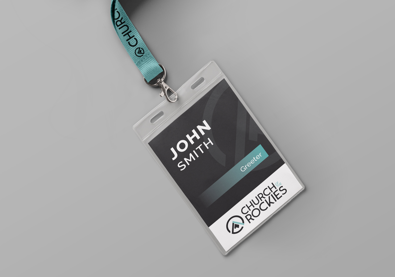 church brand collateral lanyard name badge design Kettle Fire Creative brand collateral Brand CollateralChurch of the Rockies cotr lanyard mockup