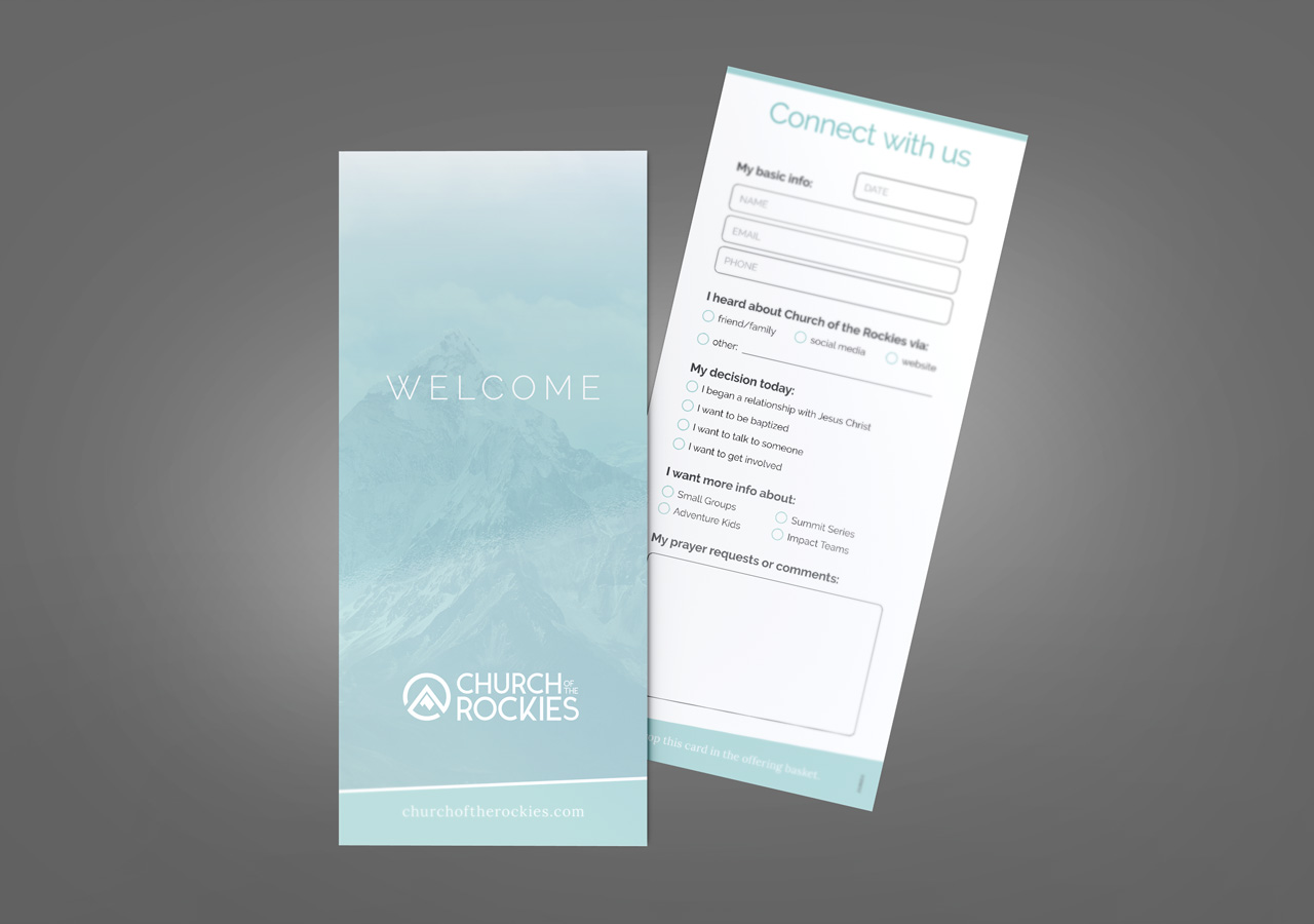 church brand collateral connect card rack card design Kettle Fire Creative brand collateral Brand CollateralChurch of the Rockies cotr rack card mockup
