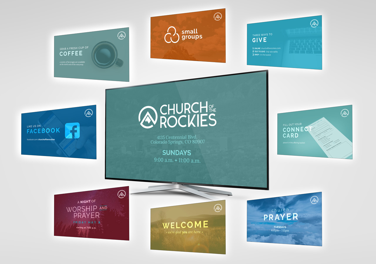 church brand collateral graphic design Kettle Fire Creative brand collateral Brand CollateralChurch of the Rockies cotr slides mockup