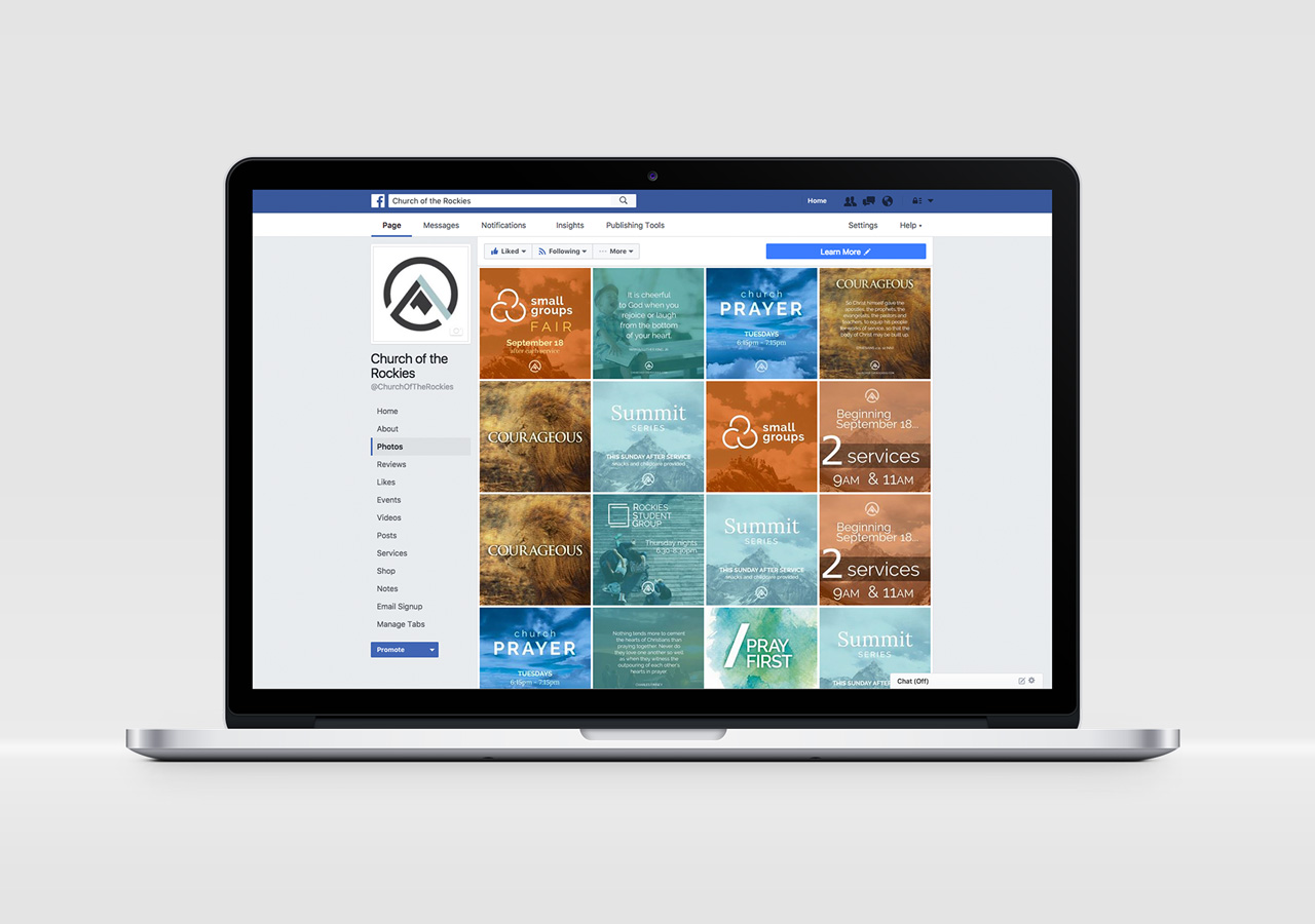 church brand collateral social media strategy templates Kettle Fire Creative brand collateral Brand CollateralChurch of the Rockies cotr social mockup