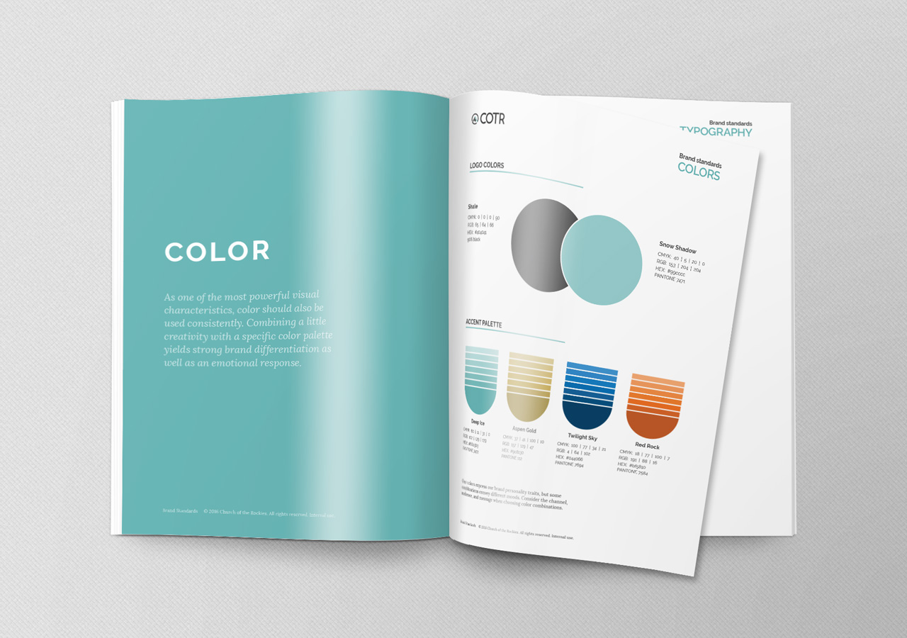 church brand collateral brand standards Kettle Fire Creative brand collateral Brand CollateralChurch of the Rockies cotr standards mockup