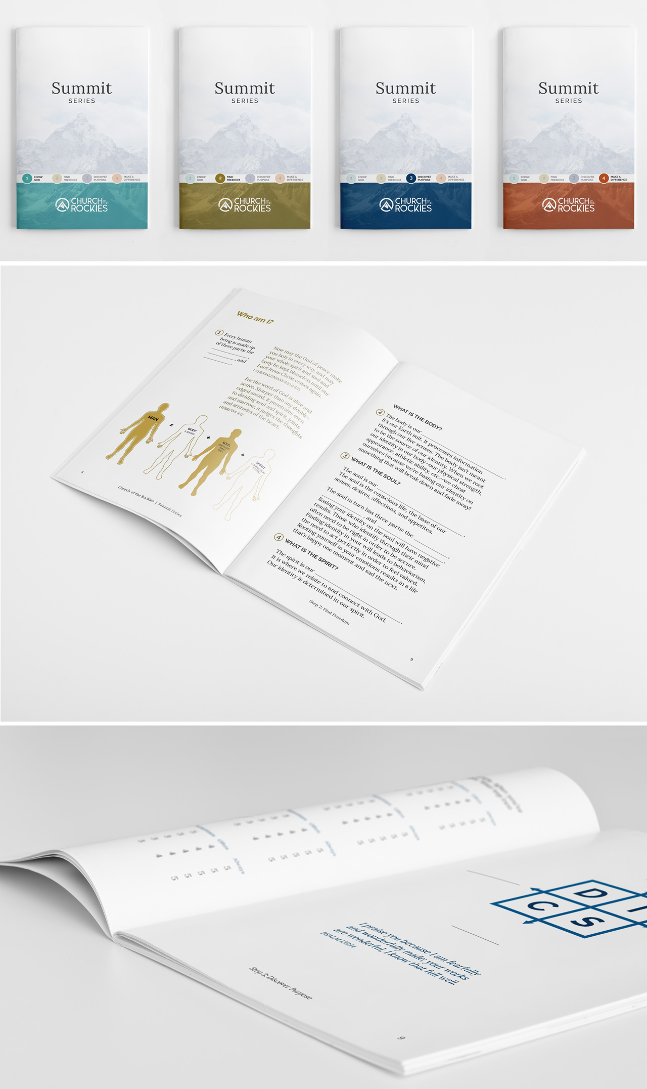 church brand collateral booklet design Kettle Fire Creative brand collateral Brand CollateralChurch of the Rockies cotr summit booklet mockup