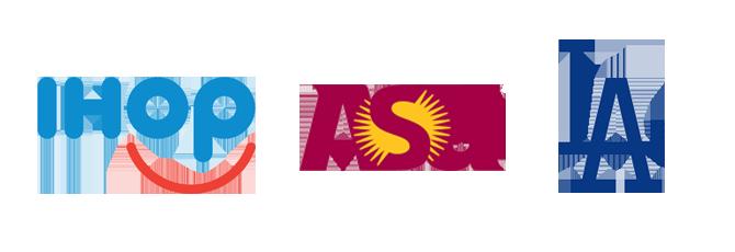 lettermark logo design IHOP ASU LA Dodgers Kettle Fire Creative