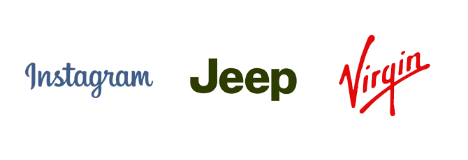 wordmark logo design Instagram Jeep Virgin Kettle Fire Creative logo terminology Logo Terminology: Wordmark, Brandmark, Lettermark, Lockup wordmarks