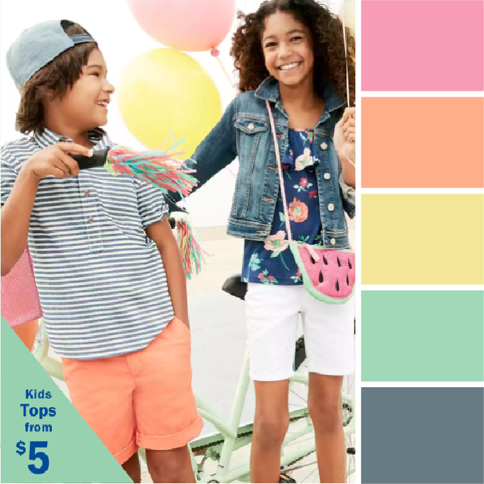 Colors of Spring color palettes Old Navy pastels Kettle Fire Creative spring color palette Colors of Spring: 5 Ads with Inspiring Spring Color Palettes Old Navy
