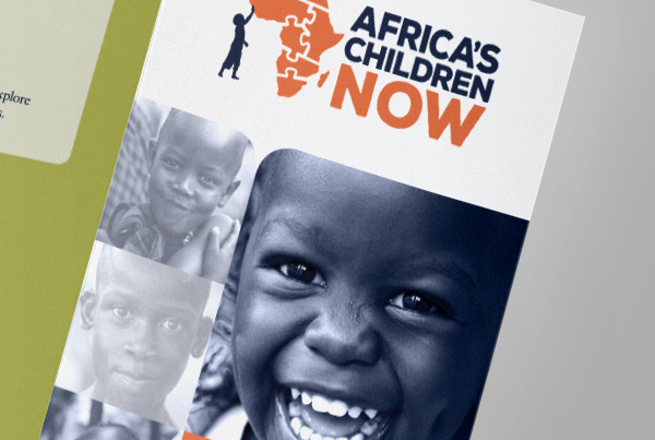 Brochure Design<br/>Africa's Children Now branding Kettle Fire Creative – Branding Colorado Springs acnow brochure fi