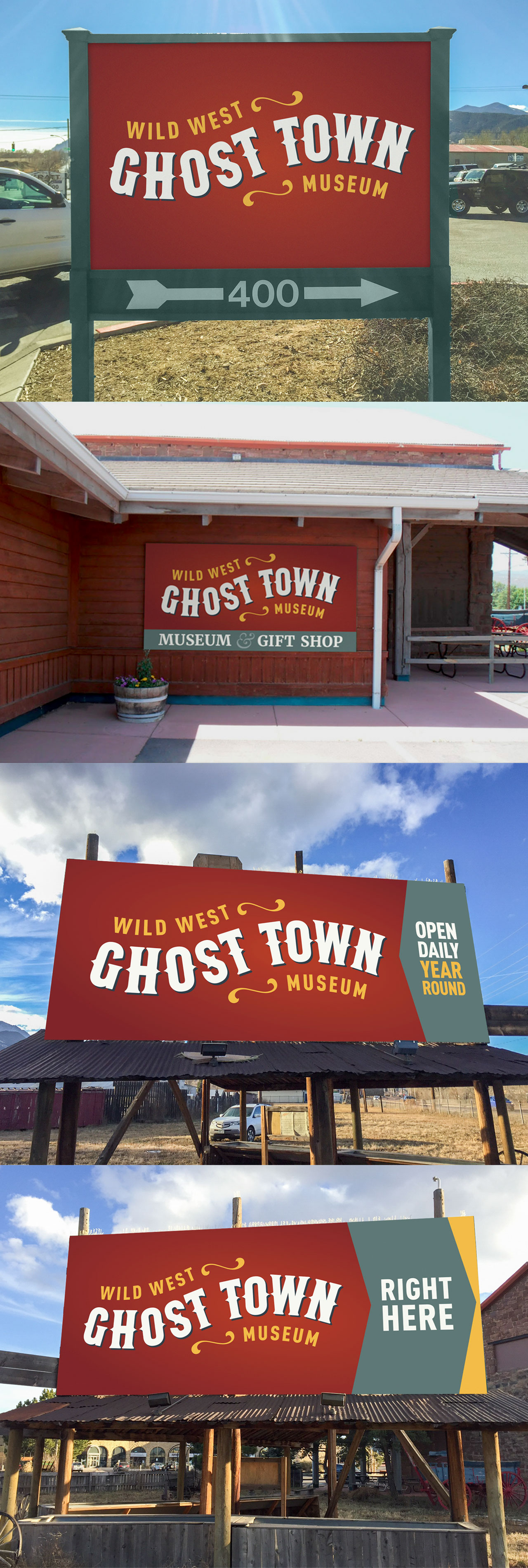 Ghost Town Museum rebrand web design billboard design signage Kettle Fire Creative rebrand Rebrand + Web DesignGhost Town Museum ghost town billboards