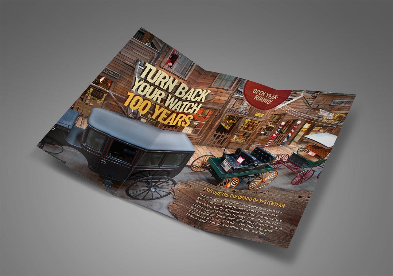 Rebrand brochure design ghost town museum Kettle Fire Creative branding Colorado Springs rebrand Rebrand + Web DesignGhost Town Museum ghost town brochure 1