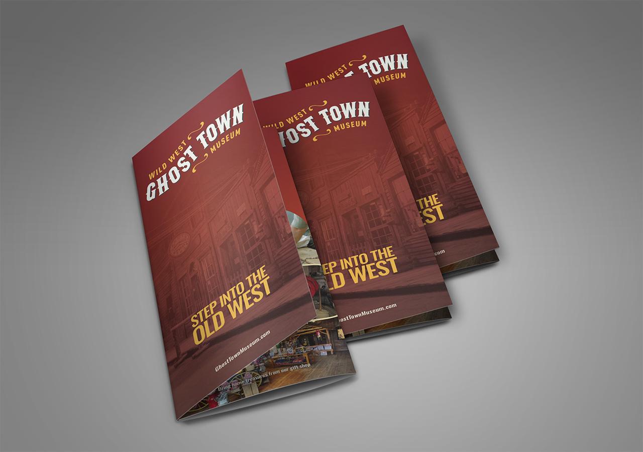Rebrand brochure design ghost town museum Kettle Fire Creative branding Colorado Springs rebrand Rebrand + Web DesignGhost Town Museum ghost town brochure 2