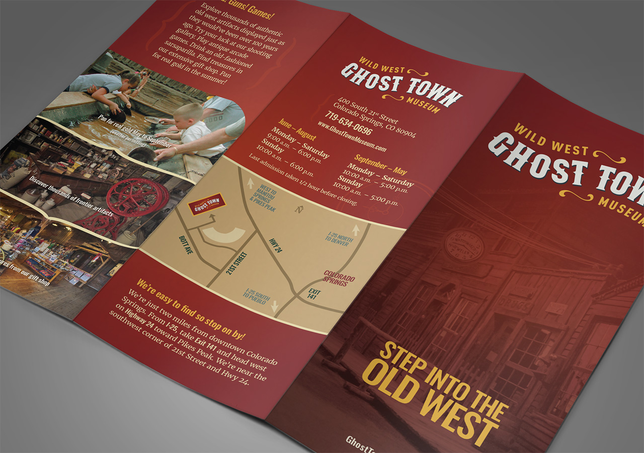 Rebrand brochure design ghost town museum Kettle Fire Creative branding Colorado Springs rebrand Rebrand + Web DesignGhost Town Museum ghost town brochure 3