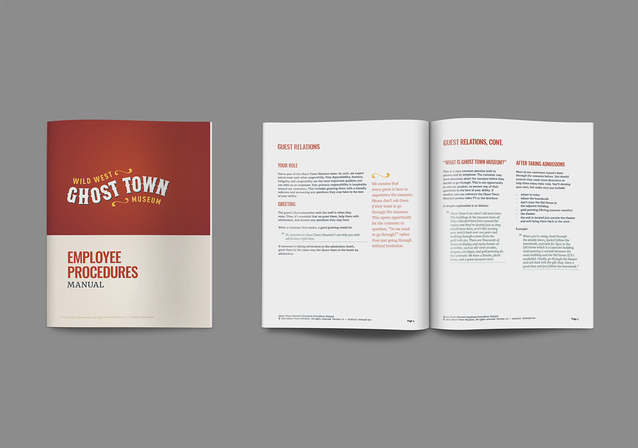 Rebrand booklet design ghost town museum Kettle Fire Creative branding Colorado Springs rebrand Rebrand + Web DesignGhost Town Museum ghost town employee manual