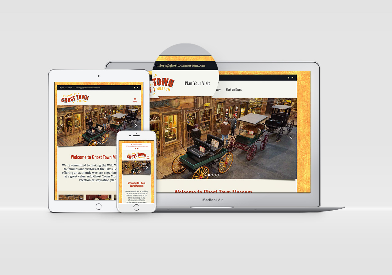 Rebrand web design mobile friendly ghost town museum Kettle Fire Creative branding Colorado Springs rebrand Rebrand + Web DesignGhost Town Museum ghost town website 1