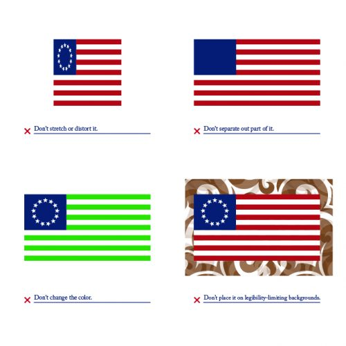 U.S. brand standards, branding USA, logo usage guide, Kettle Fire Creative brand Branding the USA: Brand Standards for the United States, 1776 logo donts1 e1499202676198