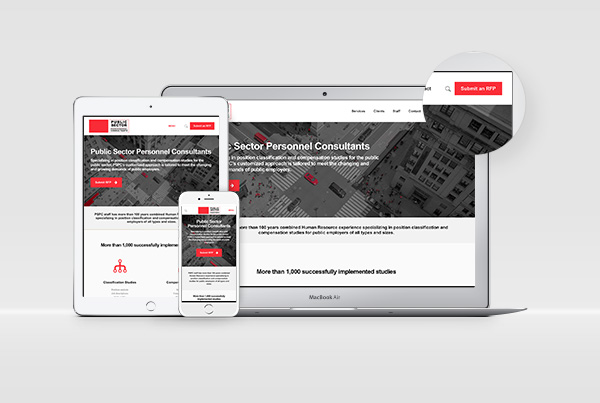 Responsive Website Design<br/>Public Sector PC branding Work pspc website fi