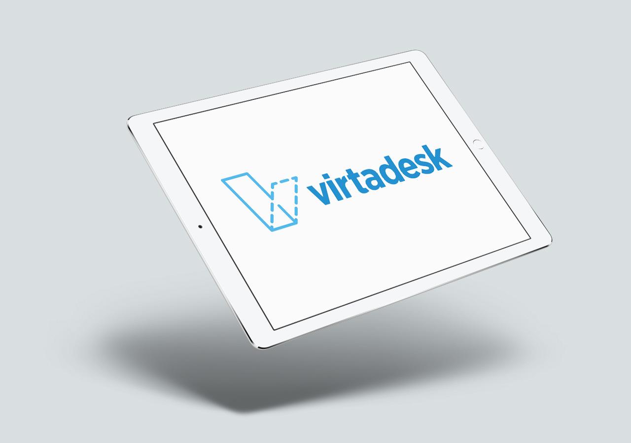 VirtaDesk branding logo design, tech company, Kettle Fire Creative branding Branding + Logo DesignVirtaDesk virtadesk logo device