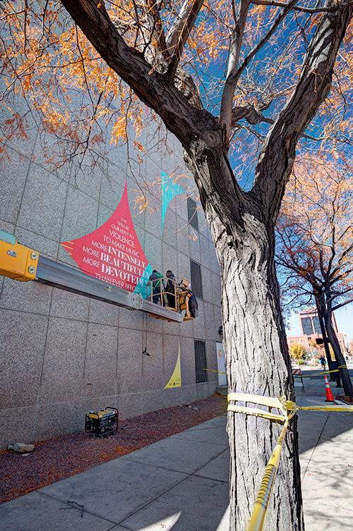 Bernstein at 100 mural design installation, Kettle Fire Creative, downtown Colorado Springs, public art bernstein Bernstein at 100 Mural Design Installed in Downtown Colorado Springs bernstein blog installation