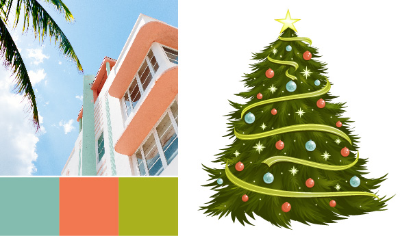 holiday color palette Holiday Color Palettes: 5 Christmas Color Combos Beyond Red & Green miami christmas
