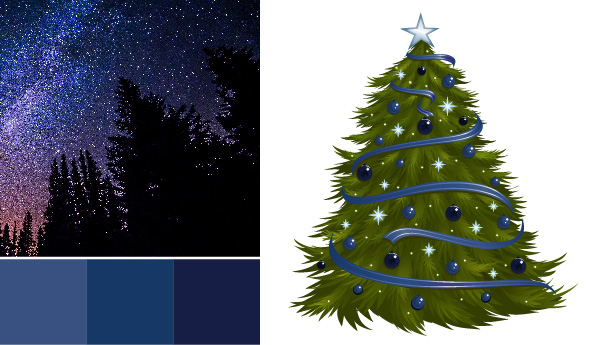 holiday color palette Holiday Color Palettes: 5 Christmas Color Combos Beyond Red & Green night sky