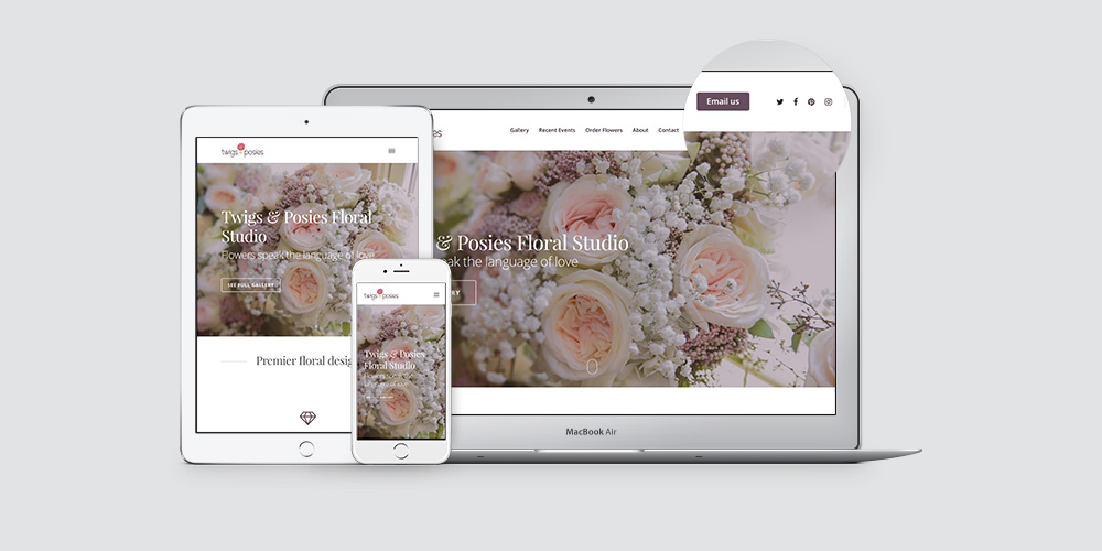 WordPress website Twigs & Posies, responsive web design, web developer, Kettle Fire Creative branding Kettle Fire Creative – Branding Colorado Springs twigsandposies website fi masonry