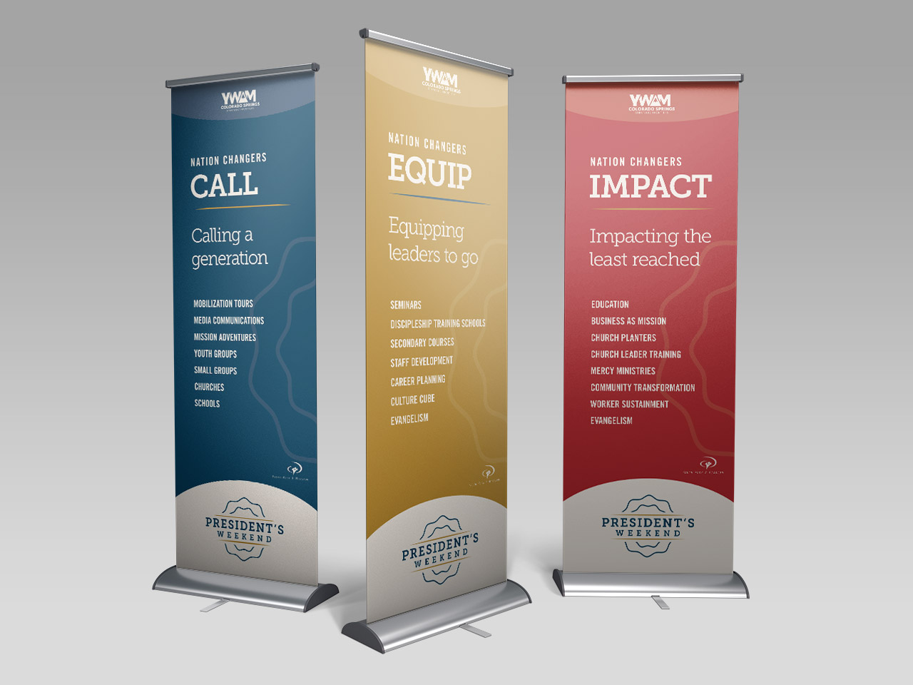 Fundraising event materials YWAM Kettle Fire Creative nonprofit banner design fundraising event Fundraising Event MaterialsPresident's Weekend ywamsf pw 2017 banners