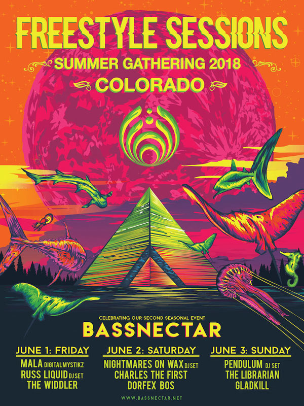 Festival Poster Designs Best of Colorado Summer 2018, Kettle Fire Creative blog, event posters, event marketing, Colorado festivals, Bassnectar Freestyle Sessions 2018 poster festival poster Festival Poster Designs: Best of Colorado, Summer 2018 Bassnectar Freestyle Sessions Summer Gathering 2018 720x960px