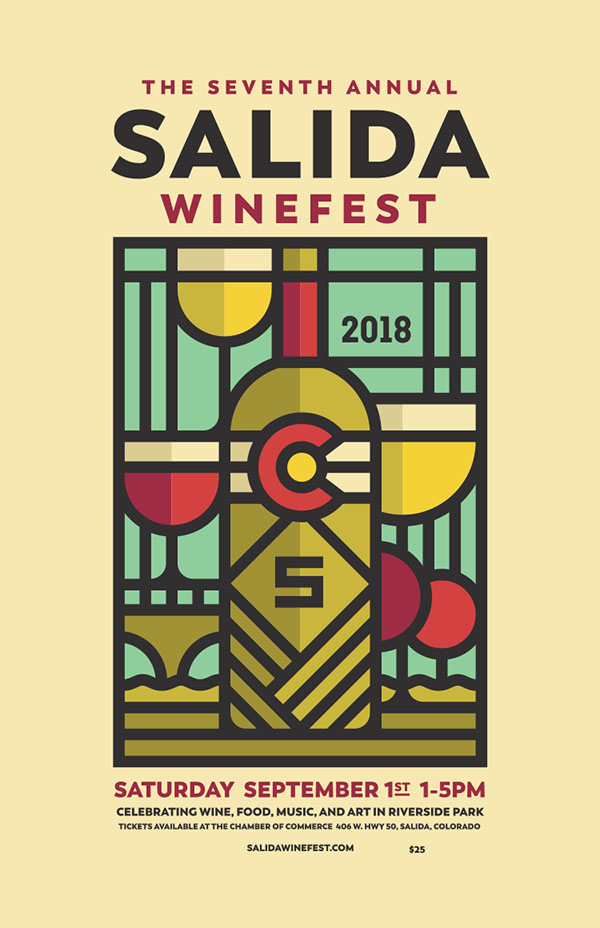 Festival Poster Designs Best of Colorado Summer 2018, Kettle Fire Creative blog, event posters, event marketing, Colorado festivals, Salida Winefest poster 2018 poster festival poster Festival Poster Designs: Best of Colorado, Summer 2018 Salida Winefest 2018 Poster 600px