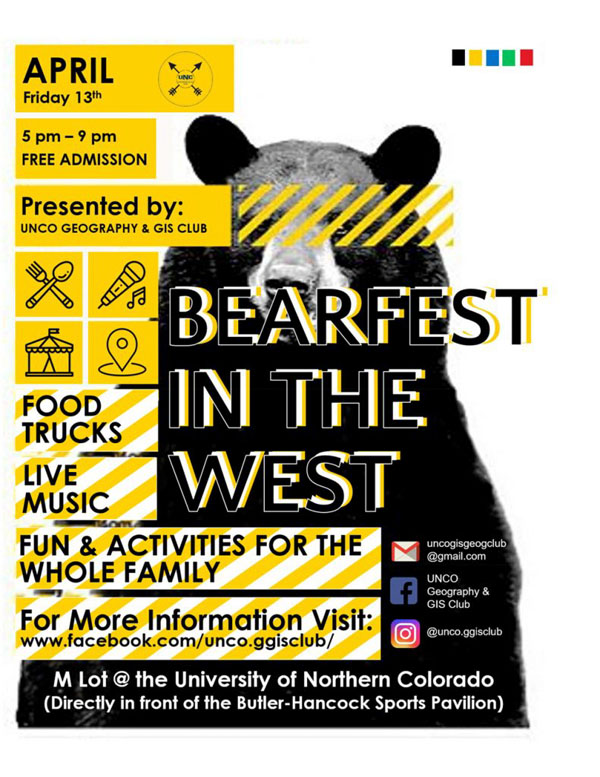 Festival Poster Designs Best of Colorado Summer 2018, Kettle Fire Creative blog, event posters, event marketing, Colorado festivals, UNCO Geography & GIS Club Bearfest in the West poster festival poster Festival Poster Designs: Best of Colorado, Summer 2018 bearfest 791x1024