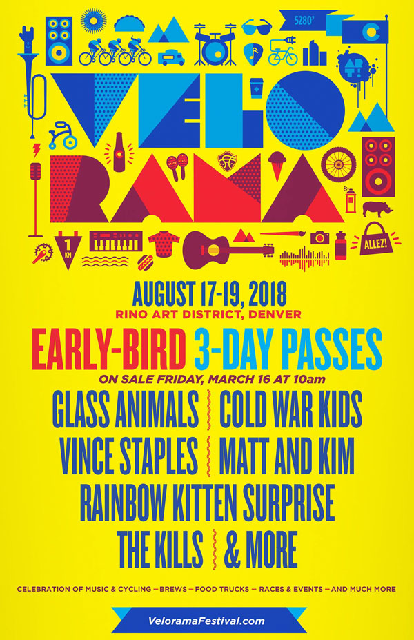 Festival Poster Designs Best of Colorado Summer 2018, Kettle Fire Creative blog, event posters, event marketing, Colorado festivals, Velorama 2018 festival poster Festival Poster Designs: Best of Colorado, Summer 2018 velorama