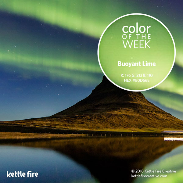 color inspiration, color ideas, colors from nature, RGB codes, HEX codes, Kettle Fire Creative blog, color of the week, buoyant lime color inspiration Color Inspiration: 12 Stunning Shades to Spark Your Creativity cotw buoyantlime