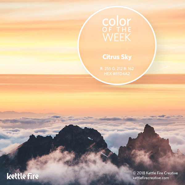 color inspiration, color ideas, colors from nature, RGB codes, HEX codes, Kettle Fire Creative blog, color of the week, citrus sky color inspiration Color Inspiration: 12 Stunning Shades to Spark Your Creativity cotw citrussky
