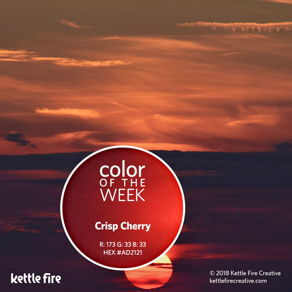 color inspiration, color ideas, colors from nature, RGB codes, HEX codes, Kettle Fire Creative blog, color of the week, crisp cherry color inspiration Color Inspiration Part II: 12 More Hues to Stir the Senses cotw crispcherry