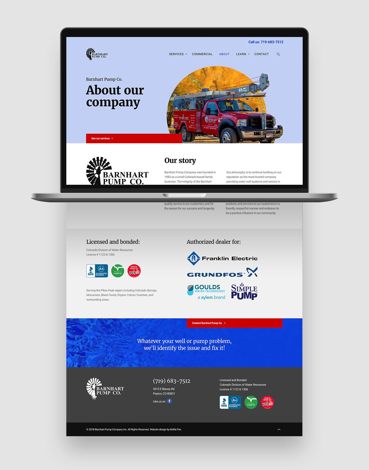 web design user experience Barnhart Pump Co by Kettle Fire Creative web design Web Design + User ExperienceBarnhart Pump Co. bp website about mockup