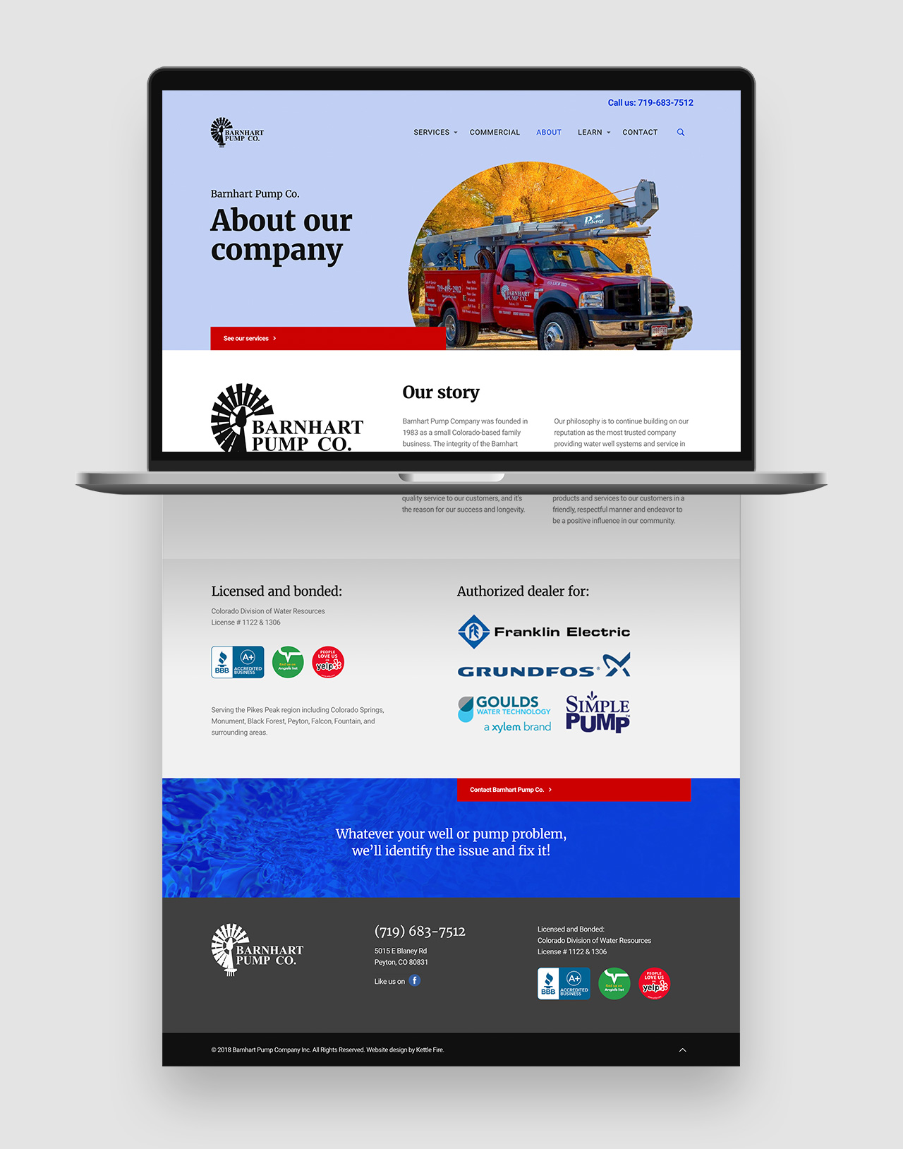 web design user experience Barnhart Pump Co by Kettle Fire Creative web design Web Design + User ExperiencePump Company bp website about mockup
