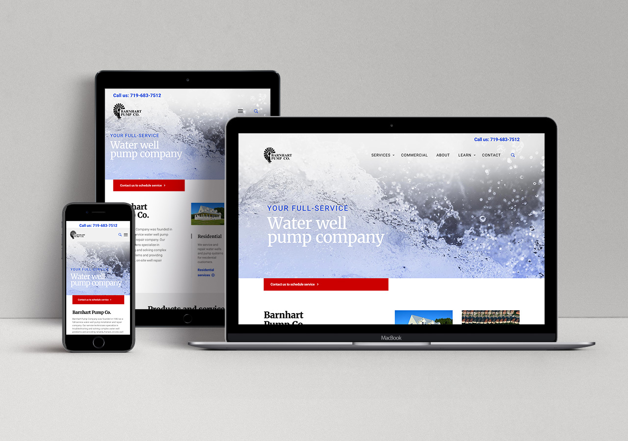 web design user experience Barnhart Pump Co by Kettle Fire Creative web design Web Design + User ExperiencePump Company bp website responsive mockup
