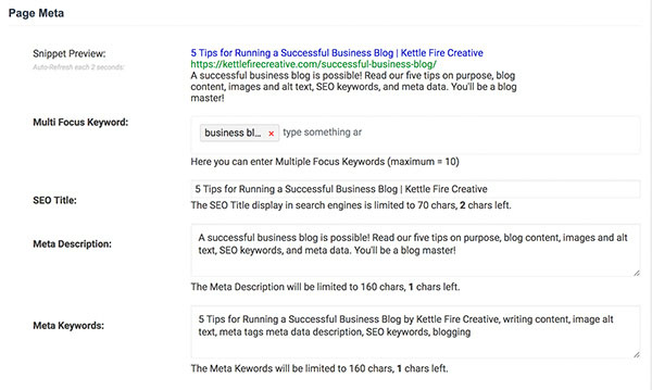 5 Tips for Running a Successful Business Blog by Kettle Fire Creative. SEO plugin screenshot business blog 5 Tips for Running a Successful Business Blog meta data 2