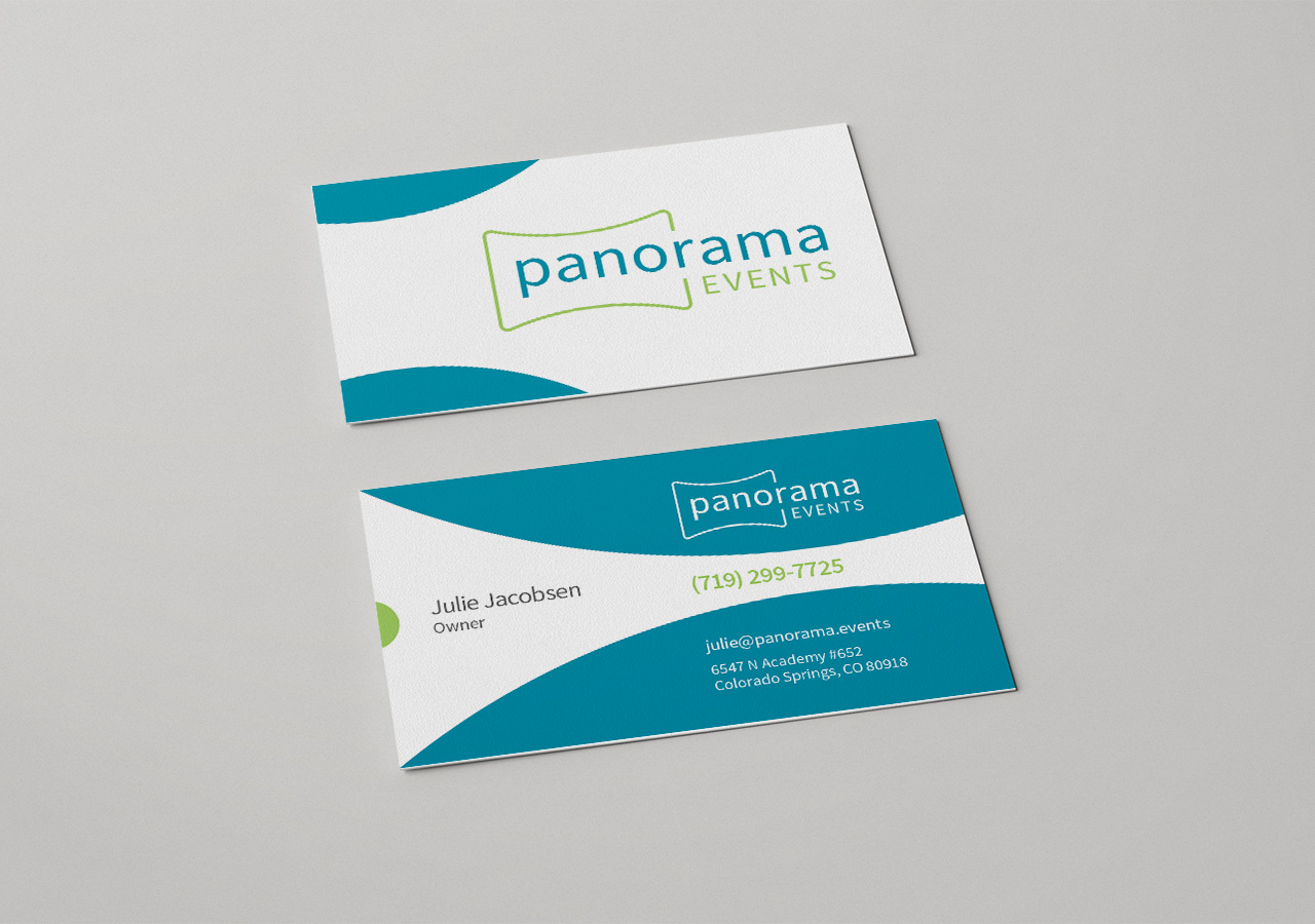 company name logo design Panorama Events by Kettle Fire Creative business card logo Name + Logo + Web DesignPanorama Events panorama events bus card mockup