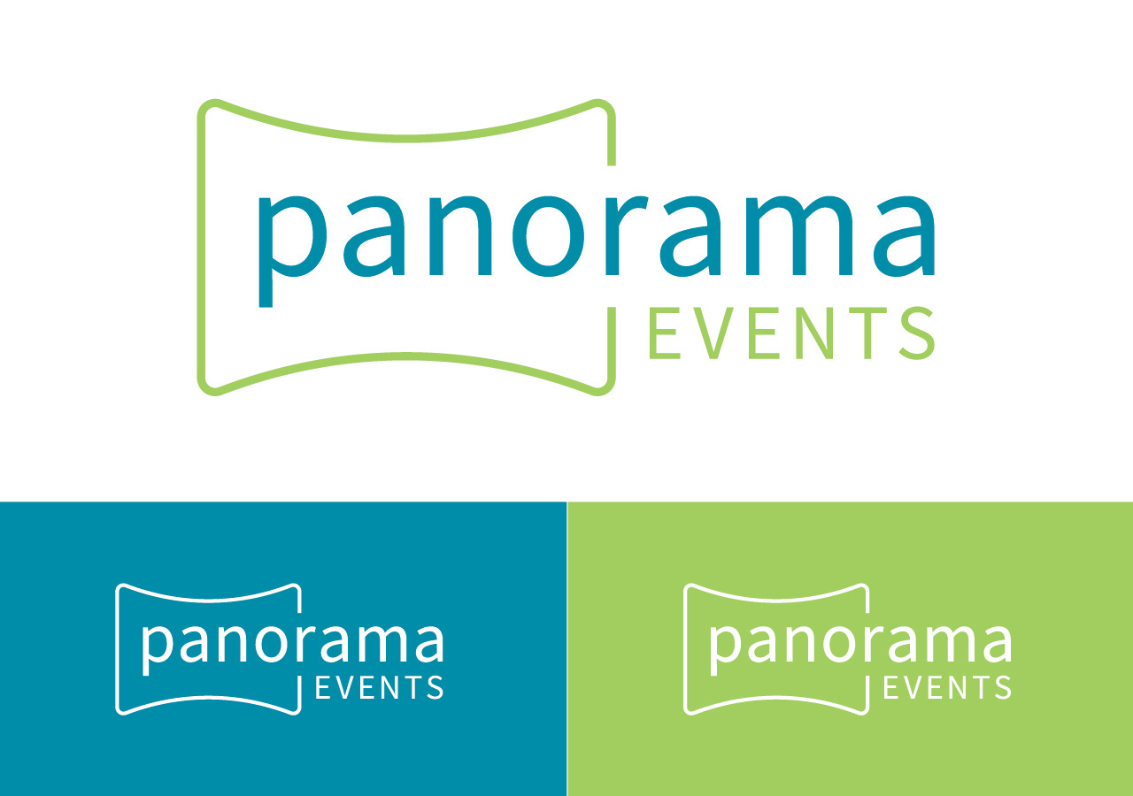 company name logo design Panorama Events by Kettle Fire Creative logo variations company name Company Name + Logo DesignPanorama Events panorama events logo 1