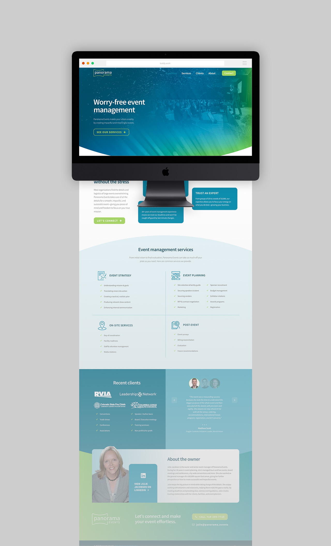 one page web design Panorama Events by Kettle Fire Creative logo Name + Logo + Web DesignPanorama Events pe mockup full fade