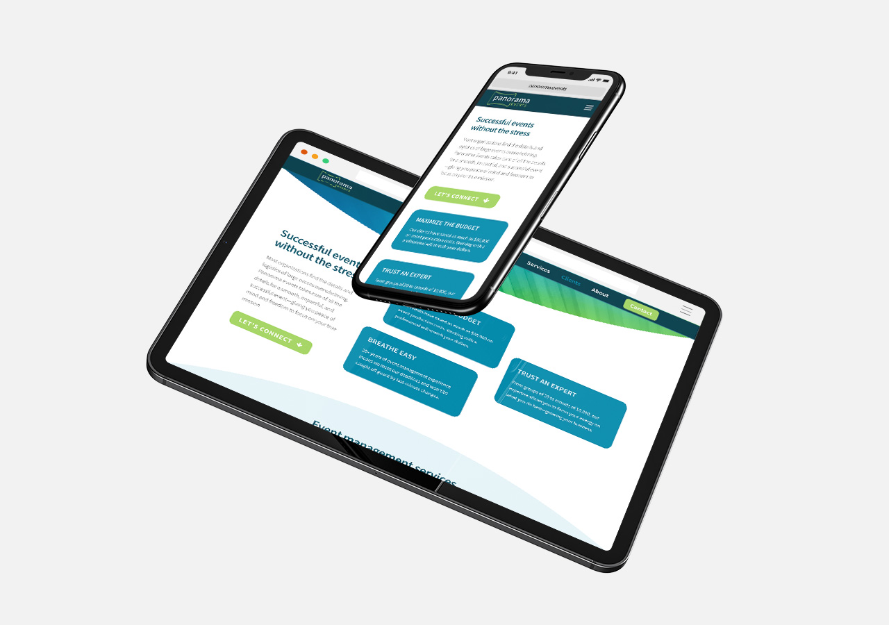 responsive one page web design Panorama Events by Kettle Fire Creative logo Name + Logo + Web DesignPanorama Events pe responsive mockup