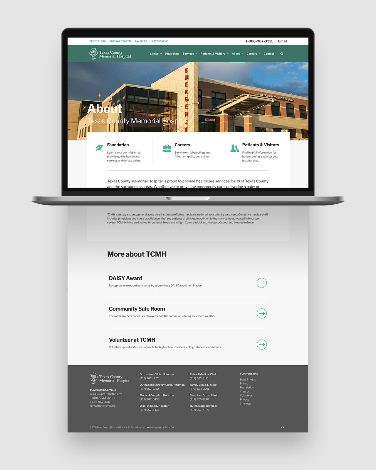 website design SEO Texas County Memorial Hospital by Kettle Fire Creative website design Website Design + SEORegional Hospital tcmh about mockup