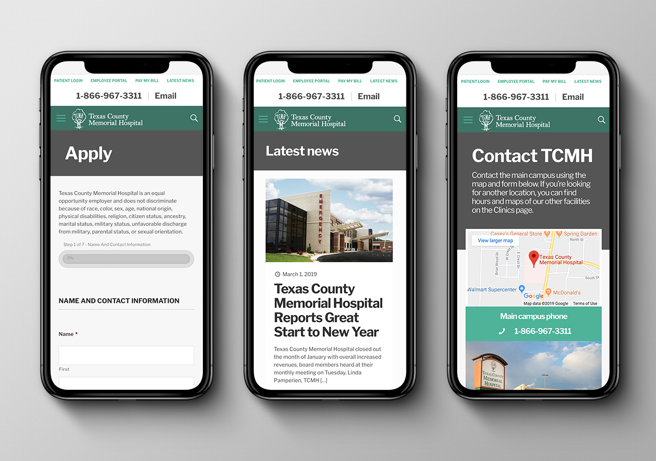 website design SEO Texas County Memorial Hospital by Kettle Fire Creative mobile friendly website design Website Design + SEORegional Hospital tcmh mobile mockup