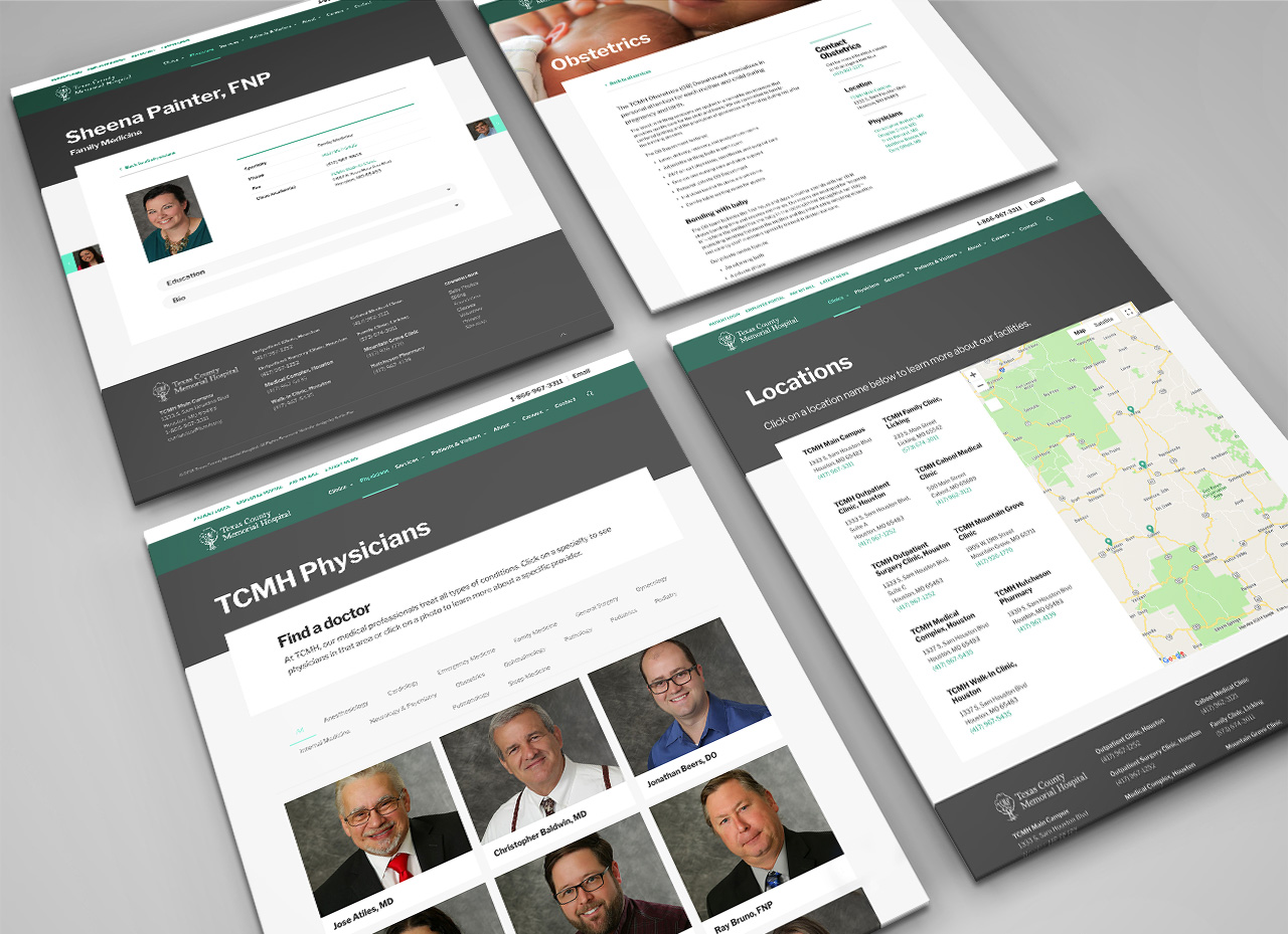 website design SEO Texas County Memorial Hospital by Kettle Fire Creative website design Website Design + SEOTexas County Memorial Hospital tcmh multi page mockup